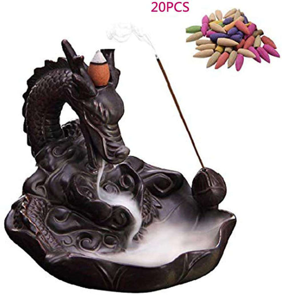 Incense Burner Home Dragon Backflow  With 20PCs Ceramic Holder