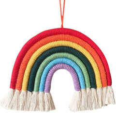 Rainbow Wall Hanging Hand-Woven Decoration for Kids Room Decor Bedroom Playroom Home Decoration