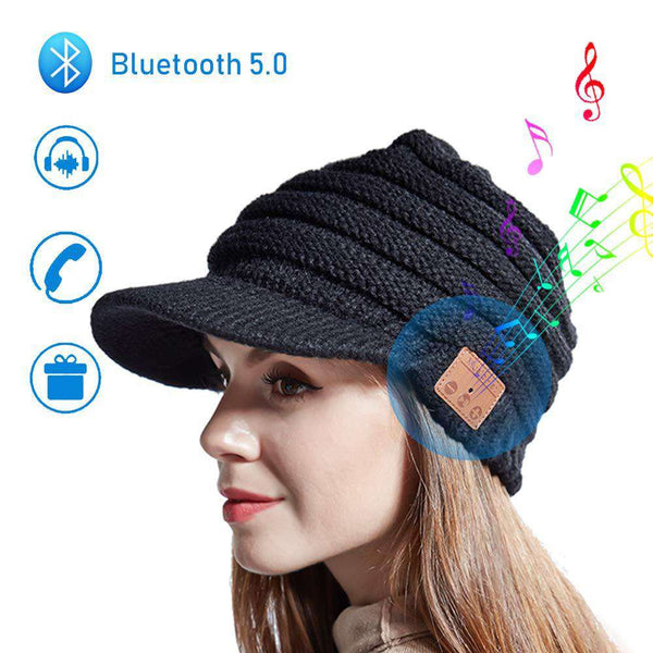 Wireless Beanie Hat Bluetooth 5 Music Headphones with Stereo Speakers Knitted Winter Hats