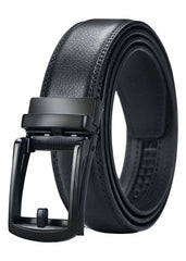 Leather Ratchet Belts for Men Black Buckle Fastening Gifts for Him