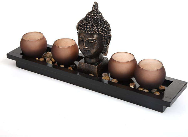 Buddha Head Ornament Statue Candle Holders Gift Set