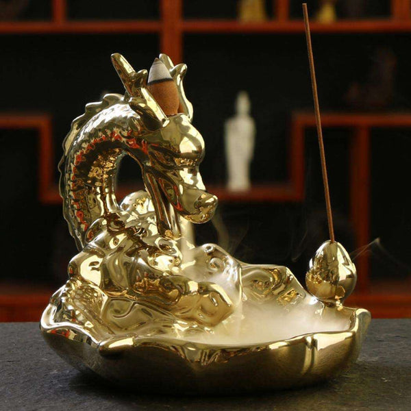 Gold Dragon Backflow Incense Burner  Cone Sticks Holder Home Decor