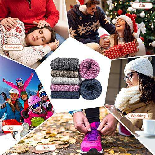5 pairs Women Socks Wool Winter Thermal Soft Classic Business Chunky Socks Breathable Premium Lightweight - handmade items, shopping , gifts, souvenir