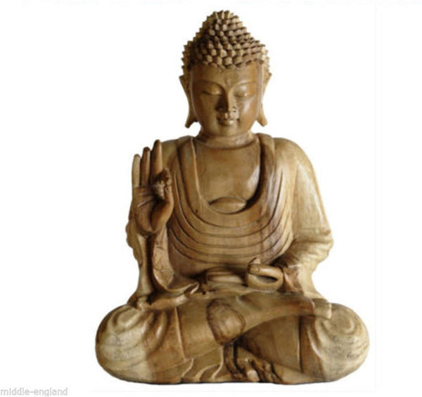 Buddha Sculpture Meditating 40cm Natural Finish Suar Wood Ornament