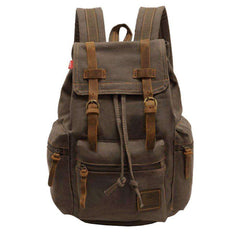 Vintage Unisex Casual Leather Backpack Canvas Rucksack