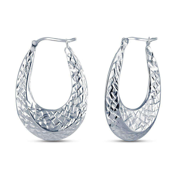 Sterling Silver Jewelry Round Oval Shaped Earrings for Teens and Women