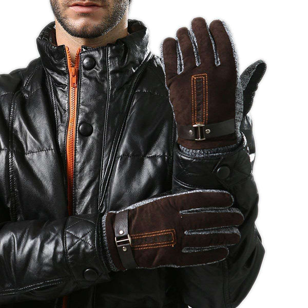 Mens Winter Leather Gloves Thick Warm Fleece Windproof Gloves Cold Proof Thermal Mittens - handmade items, shopping , gifts, souvenir