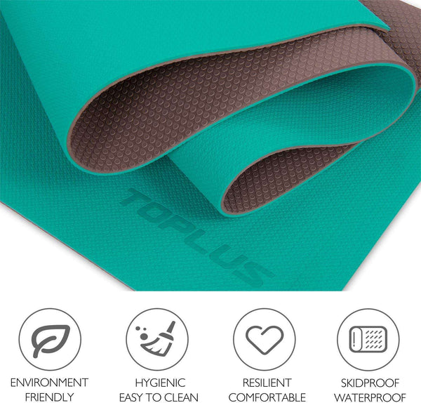 Classic Pro Fitness Mat TPE Eco Friendly Non Slip Exercise Mat Green