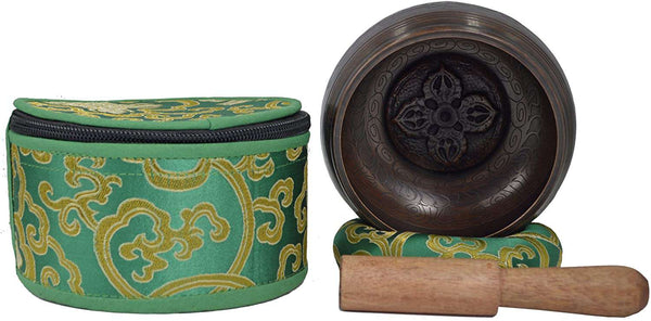 Tibetan Singing Bowl with protective pouch For Meditation Relaxation Healing