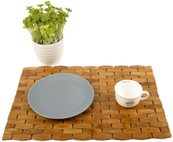 Bamboo Place Mats Dining Mat Decoration for Table Natural Color Set of 4 Eco-Friendly - handmade items, shopping , gifts, souvenir