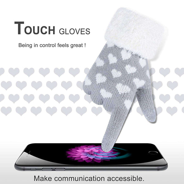 Winter Touch Screen Gloves Snow Flower Printing Keep Warm for Women and Men - handmade items, shopping , gifts, souvenir