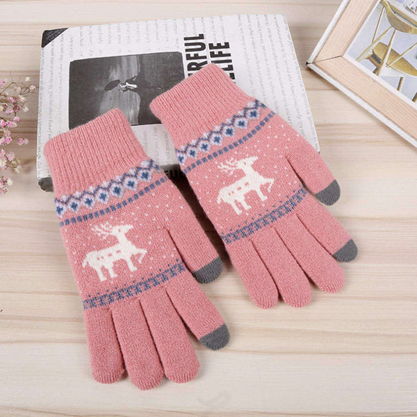 2 Pairs Women Winter Gloves Warm Knitted Glove Thicken Plush Lining Thermal Wrist Gloves Support Touch Screen - handmade items, shopping , gifts, souvenir