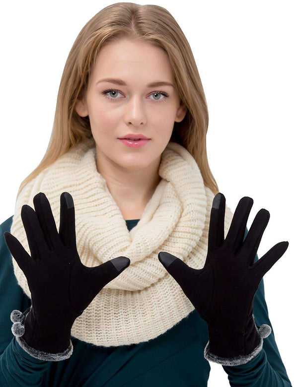 Womens Gloves Screen Touch Winter Thick Warm Lined Gloves Fashion Smart Texting