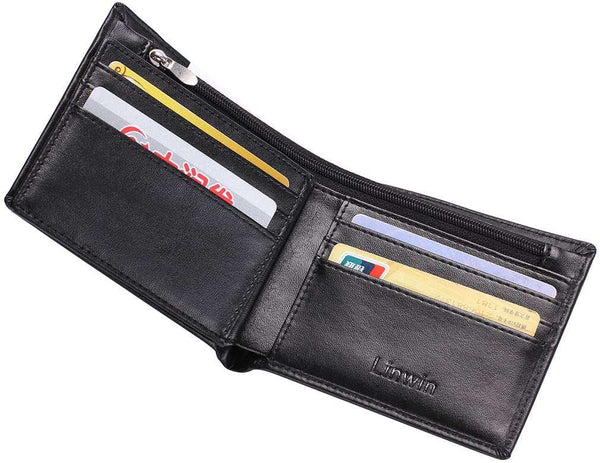 RFID Blocking Mens Soft Smoonth Geniune Leather Wallet with Zipped Pocket