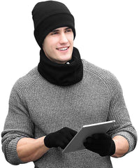 Unisex Beanie Neck Warmer Touch Screen Gloves Knitted Winter Gloves Set