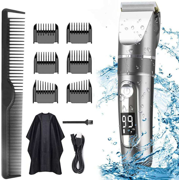 Hair Clippers for Men Kids Hair Trimmer Set Cordless Rechargeable Led Display Speed Adjustment with 6 Guide Combs - handmade items, shopping , gifts, souvenir