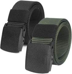 2 Pack Mens Work Belts Canvas Belt Plastic Clip
