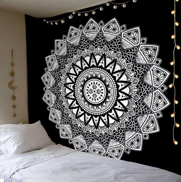 Tapestry Wall Hanging Moon and Stars Mandala Tarot Design - handmade items, shopping , gifts, souvenir