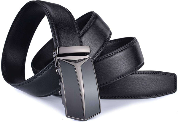 Mens Adjustable Leather Ratchet Belt Automatic Buckle Black - handmade items, shopping , gifts, souvenir