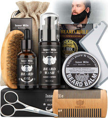 Beard Grooming Kit for Men Perfect Gifts for Him Include Brush Comb Scissors Shaping Tool & Guard
