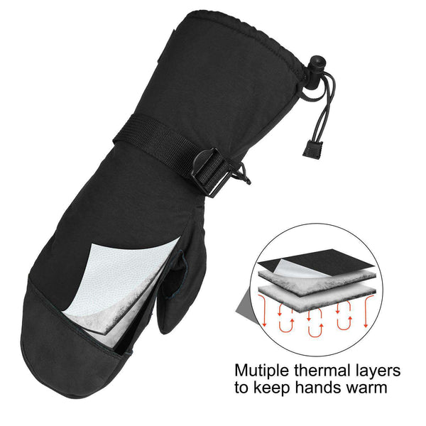 OZERO ski mitt,winter mittens with leather palm,3M thermal Thinsulate Insulation and adjustable belts for keeping mens and womens hands warm,1 pair - handmade items, shopping , gifts, souvenir