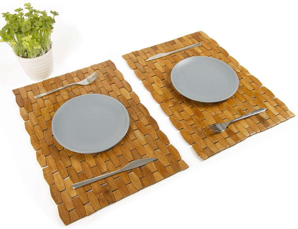 Bamboo Place Mats Dining Mat Decoration for Table Natural Color Set of 4 Eco-Friendly