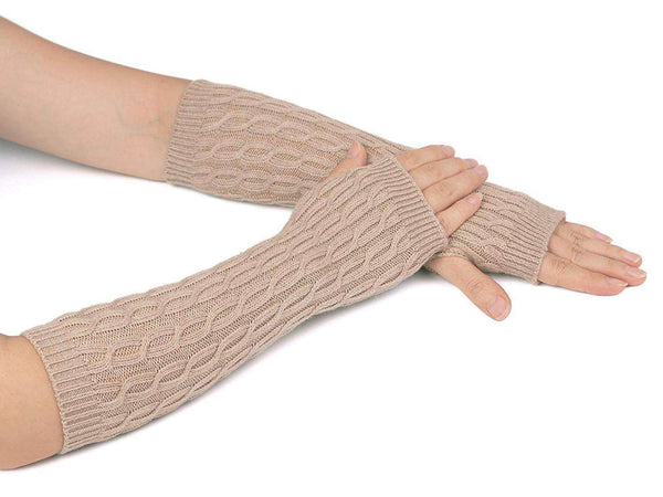 Zeltauto Women's Cable Knitted Arm Warmer Glove Thermal Wool