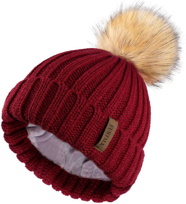 Women Winter Hat Double Layer Fleece Line Slouchy Beanie Hats with Faux Fur Bobble Pom Pom Hat