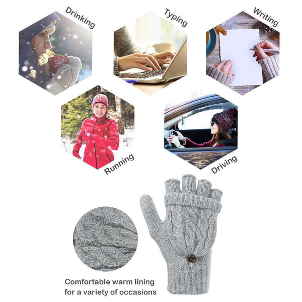 Womens Gloves Fingerless Mittens Winter Warm Gloves Heat Weaver Cable Knit Half-Finger Gloves for Ladies and Girls - handmade items, shopping , gifts, souvenir