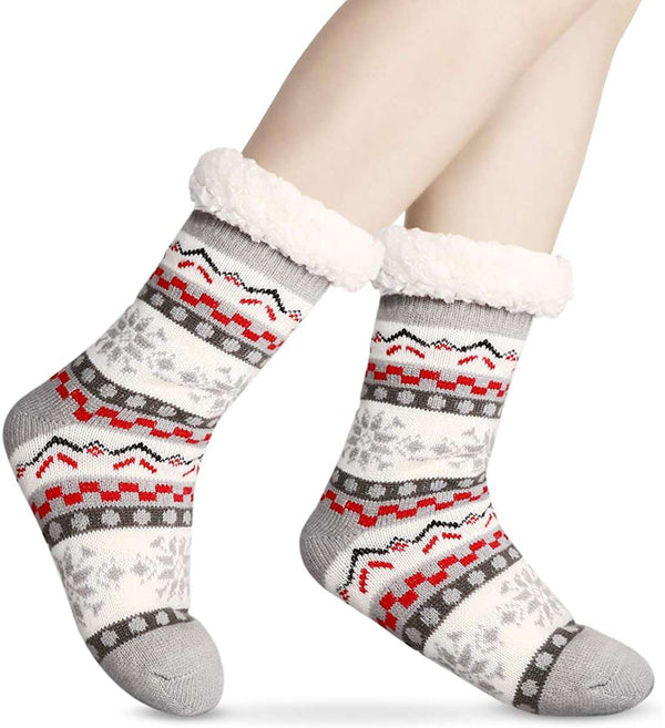 Slipper Socks Winter Ladies Non Slip Fleece Lined Soft Cozy Cotton Knitted Sock for Women Girls Indoor One Size - handmade items, shopping , gifts, souvenir