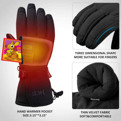 MCTi Waterproof Ski Gloves Mens Thermal 3M Thinsulate Snow Snowboard Winter Warm Gloves with Zipper Pocket
