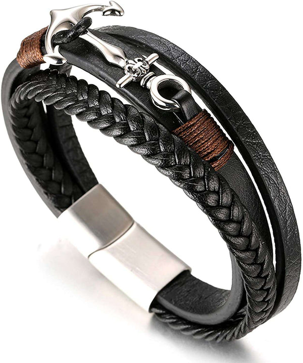 Halukakah  SAIL Mens Genuine Leather Handmade Braid Anchor Bracelet Titanium Matt Silver Magnetic Clasp - handmade items, shopping , gifts, souvenir