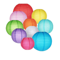 Paper Lanterns Colorful Round Handmade with Metal Frame
