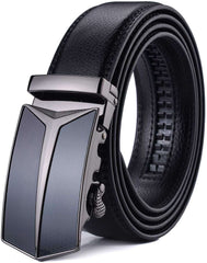Mens Adjustable Leather Ratchet Belt Automatic Buckle Black