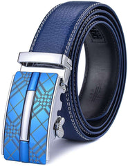 Mens Adjustable Leather Ratchet Belt Automatic Buckle