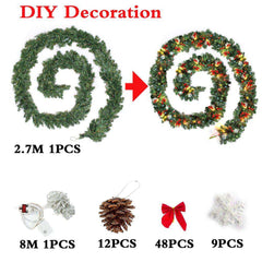 9ft Christmas Garlands LED Light Decoration
