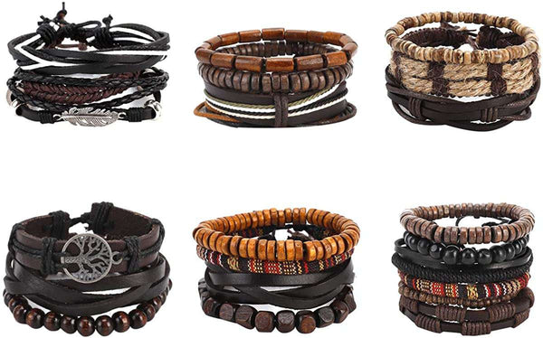 21 PCS Mixed Wrap Braided Leather Wristbands Bracelets and Wood Beads Bracelet Set Pack Handmade for Men Women 7-8.5inches Adjustable - handmade items, shopping , gifts, souvenir