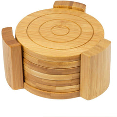 6 Bamboo Round Coaster Set in Bamboo Holder Pot Holder