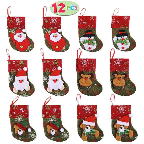 Set of 12 Mini Christmas 3D Stockings Gift & Treat Bags for Christmas Tree Decoration - handmade items, shopping , gifts, souvenir