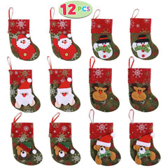 Set of 12 Mini Christmas 3D Stockings Gift & Treat Bags for Christmas Tree Decoration