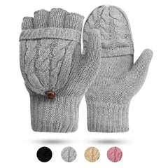 Women's Gloves Fingerless Mittens - Winter Warm Gloves Heat Weaver Cable Knit, Half-Finger Gloves for Ladies and Girls - Christmas Birthday Gift