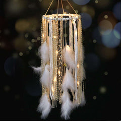 Dream Catcher with White Feather Large Lace LED Fairy Lights by 2AA Battery Powered Baby Kids Bedroom Decoration