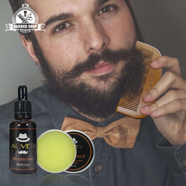 Beard Care Kit with Beard Brush Comb Oil and Beard Scissors for Men - handmade items, shopping , gifts, souvenir