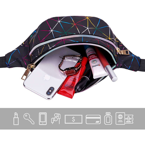Holographic Fanny Packs for Women Waterproof Waist Packs
