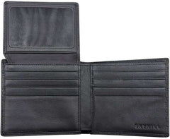Black Leather RFID Blocking Wallets Mens