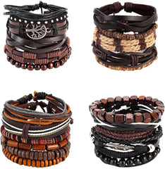 21 PCS Mixed Wrap Braided Leather Wristbands Bracelets and Wood Beads Bracelet Set Pack Handmade for Men Women 7-8.5inches Adjustable