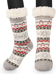Slipper Socks Winter Ladies Non Slip Fleece Lined Soft Cozy Cotton Knitted Sock for Women Girls Indoor One Size