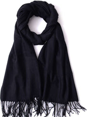 Winter Long Wool Soft Warm Tassel Scarves for Women Men Ladies
