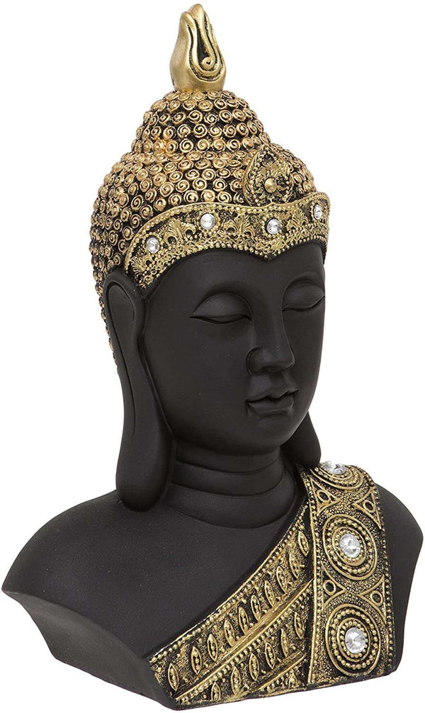 Buddha Head with Diamante Detailing, Gold,