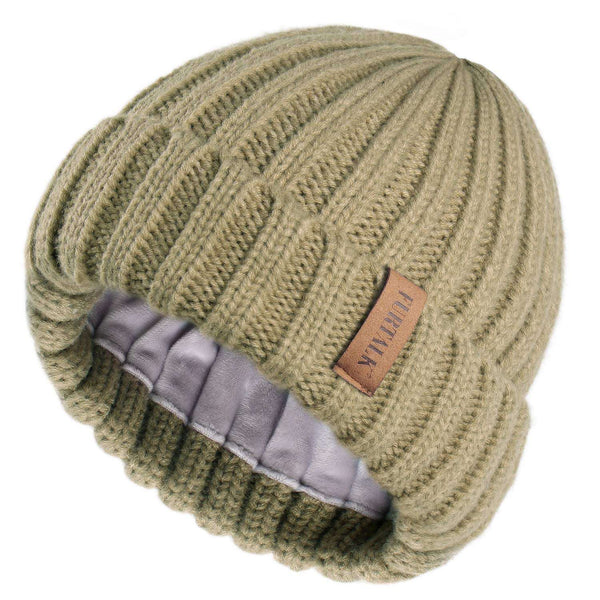 Women Winter Hat Double Layer Fleece Line Slouchy Beanie Hats